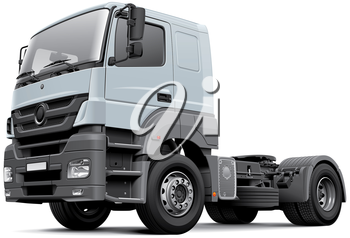 High quality vector image of European commercial freight vehicle, isolated on white background. File contains gradients, blends and transparency. No strokes. Easily edit: file is divided into logical layers and groups.