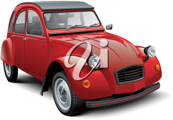 High quality vector illustration of vintage economy car, isolated on white background. File contains gradients, blends and transparency. No strokes. Easily edit: file is divided into logical layers and groups. Please note that not all vector graphics editors support visual effects by Adobe Illustrator.