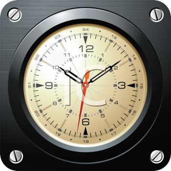 Royalty Free Clipart Image of a Vintage Military Airplane Clock