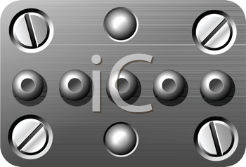 Royalty Free Clipart Image of Screws and Rivets on a Metal Plate