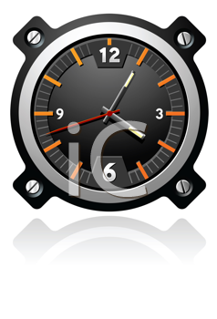 Royalty Free Clipart Image of an Aviation Watch With a Black Dial