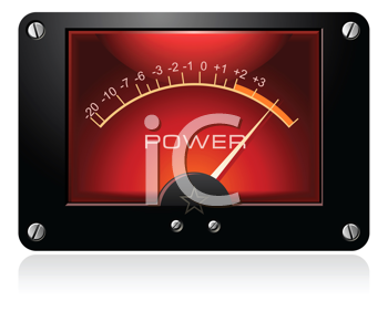 Royalty Free Clipart Image of an Electronic Analog VU Signal Meter