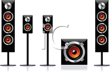 Royalty Free Clipart Image of a Surround Stereo Loudspeakers Set