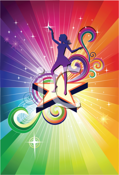 Royalty Free Clipart Image of a Colorful Background With a Girl Dancing