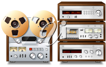 Royalty Free Clipart Image of Stereo Components and a Tape Reel