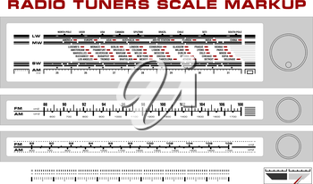 Royalty Free Clipart Image of Three Radio Tuner Scale Blueprints