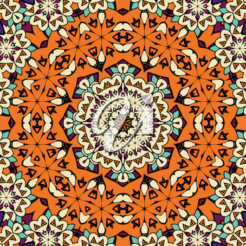 Hand drawn seamless ornament in orange color. Endless oriental background.