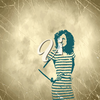 vintage girl on grungy background vector