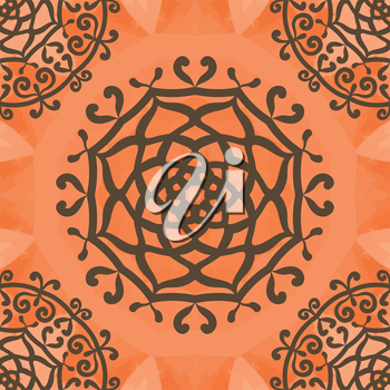 Ornamental seamless pattern on orange texture. Endless vector template can be used for wallpaper, pattern fills, textile, fabric, wrapping paper, surface textures. Ottoman style design.