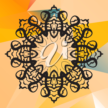 Indian mandala vector. Geometric circle element. Perfect  cards for any other kind of design, birthday and other holiday, kaleidoscope,  medallion, yoga, indian, arabic lace