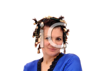 Royalty Free Photo of a Woman With Hair Curlers