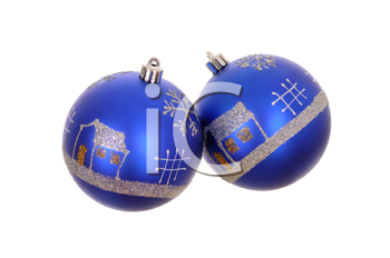 two blue christmas decorations isolated on white background