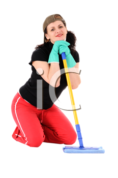 the woman with a mop isolated on white background