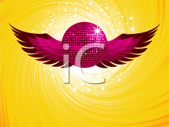 Royalty Free Clipart Image of a Sparkling Pink Disco Ball and Wings
