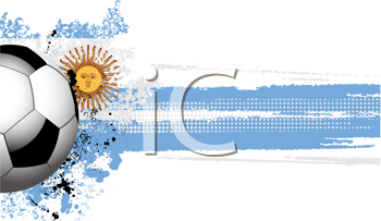 Royalty Free Clipart Image of a Football Banner With an Argentinian Flag