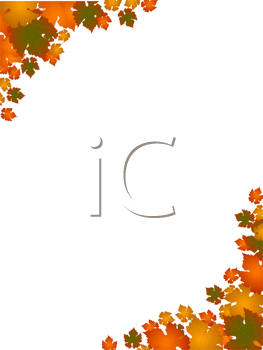 Royalty Free Clipart Image of an Autumn Leaf Border
