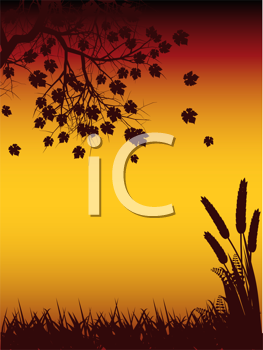 Royalty Free Clipart Image of an Autumn Landscape