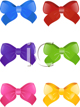 Royalty Free Clipart Image of a Set of Colorful Bows