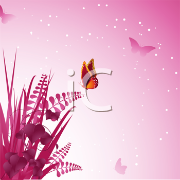 Royalty Free Clipart Image of a Butterfly Settling on Vines