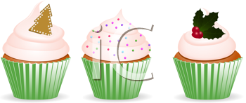 Royalty Free Clipart Image of Christmas Cupcakes