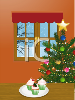 Royalty Free Clipart Image of Cupcakes on a Table Near a Christmas Tree