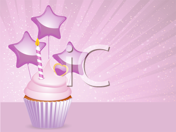Royalty Free Clipart Image of  a Pink Cupcake