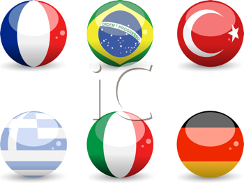 Royalty Free Clipart Image of Flag Spheres of France, Brazil, Turkey, Greece, Italy and Germany