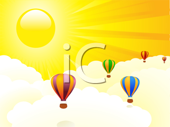 Royalty Free Clipart Image of Hot Air Balloons Floating in the Sky