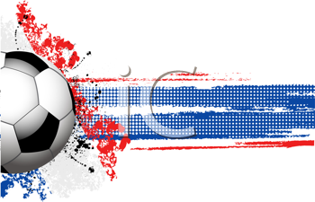 Royalty Free Clipart Image of a Football Banner With a Grunge French Flag