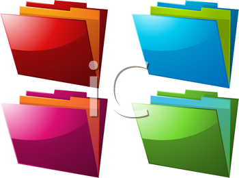Royalty Free Clipart Image of a Set of 4 Document Folders