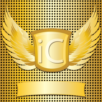 Royalty Free Clipart Image of a Gold Metallic Grid Background With a Shield and Wings