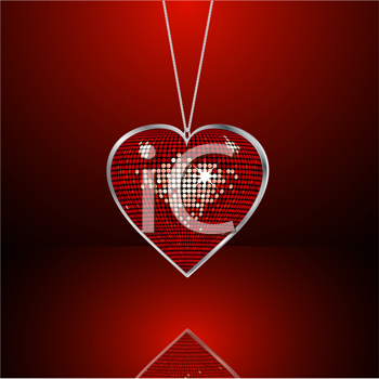 Royalty Free Clipart Image of a Disco Style Valentine Heart Pendant