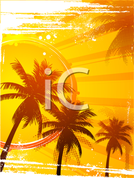 Royalty Free Clipart Image of Abstract Tropical Sunset