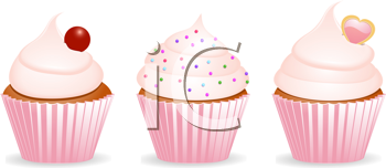 Royalty Free Clipart Image of Three Cupcakes
