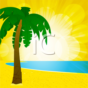 Royalty Free Clipart Image of a Palm Tree on a Summer Beach