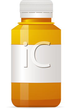 Royalty Free Clipart Image of an Empty Pill Bottle
