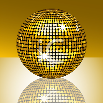 Royalty Free Clipart Image of a Gold Disco Ball