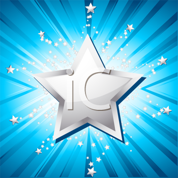 Royalty Free Clipart Image of a Silver Star on a Blue Background