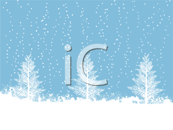 Royalty Free Clipart Image of a Snowy Winter Scene