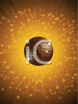 Royalty Free Clipart Image of a Gold Disco Ball With an Explosion of Rays