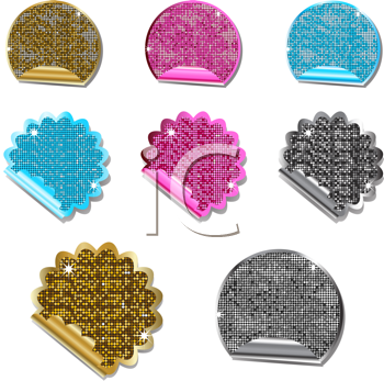 Royalty Free Clipart Image of a Set of Glittering Metallic Labels