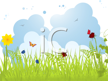 Royalty Free Clipart Image of a Spring Landscape