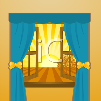 Royalty Free Clipart Image of the Sun Setting Through a Window