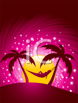 Royalty Free Clipart Image of a Woman in a Hammock Looking at the Sky
