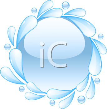 Royalty Free Clipart Image of a Water Splash and Bubble Icon
