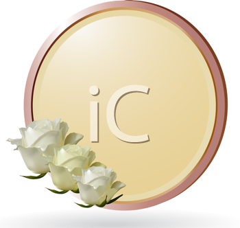 Royalty Free Clipart Image of White and Ivory Roses in a Border Background