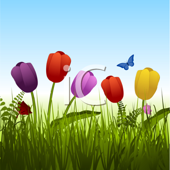 Royalty Free Clipart Image of Flowers in the Grass