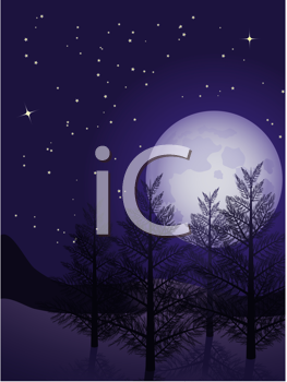 Royalty Free Clipart Image of a Winter Landscape With a Starry Sky and Full Moon