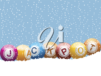 Snow capped bingo or lottery balls on a snowy Christmas background