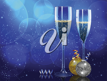 Champagne flutes on a blue background with Christmas baubles and streamers